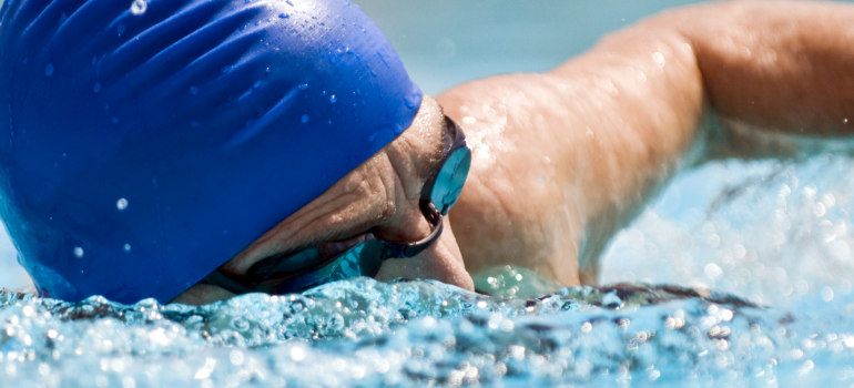 Close up of a swimmer in the water