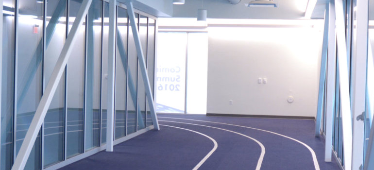 Shot of the indoor track overlooking the pools at HealthSpring Fitness